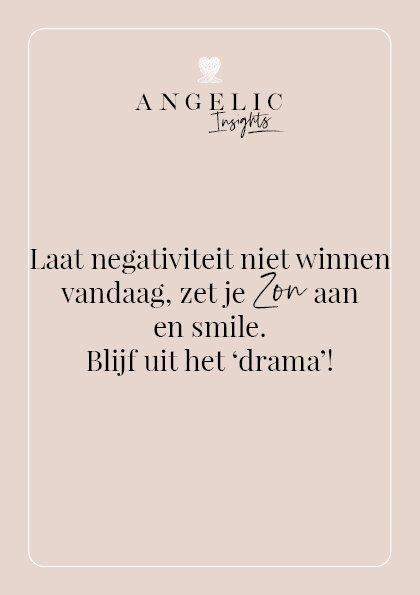 Laat negativiteit niet winnen vandaag, zet je Zon aan en smile. Blijf uit het 'drama'!